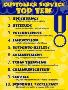 Customer Service Top Ten graphic by Jamie Favreau. http://pinterest.com/jfavreau/