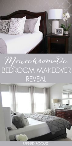 Want to create a soothing and peaceful master bedroom using a monochromatic color palette? Check out this master bedroom makeover reveal!