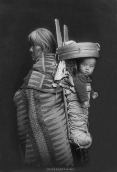 An old photograph of a Navajo and Papoose 1914.