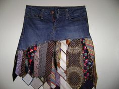 Upcycling vintage old ties, add onto existing repurposed denim blue jean skirt cut short