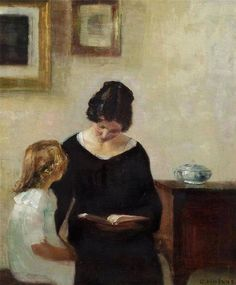"""Interior with a mother reading aloud to her daughter"" By Carl Vilhelm Holsøe (Danish, 1863 - 1935) - oil on canvas - Private Collection  #CarlHolsøe #DanishArtist"