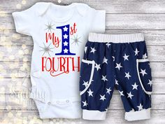 July 4th Baby Boy Outfit 1st 4th of July by BabySquishyCheeks