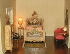 miniature bedroom The painted bedroom set is by Renee Isabelle
