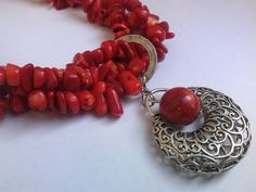 Genuine Red Coral Necklace Coral Chips by JewelleryByKassandra