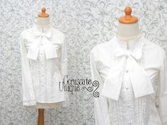 Victorian Blouse Long Sleeve Detachable Ribbon by CoruscateUnique, $107.50