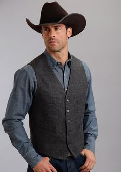 "Mens Western Vest - ""El Jefe"" - From Stetson: This grey herringbone wool blend vest is fully lined with four front welt pockets and a size adjuster on the back. The back and lining is polyester/cotton striped fabric."