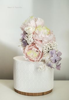 Handmade peonies and hydrangea sugarflowers on a textured white wedding cake by Sameen Ismail Cake Icing, Eat Cake, Shabby Chic Cakes, Single Tier Cake, Peonies And Hydrangeas, Cool Birthday Cakes, Wedding Cake Inspiration, Sugar Art, Tiered Cakes