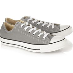 Converse Chuck Taylor All Star canvas sneakers ($38) ❤ liked on Polyvore featuring shoes, sneakers, sapatos, canvas trainers, canvas lace up sneakers, grey sneakers, dolphin trainer and star sneakers