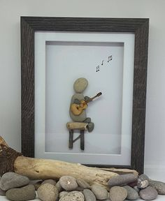 Fathers day gift, Anniversary present, Pebble Art, guitar gift, dad, music frame, country and weston, personalized art, grandad, papa bear by CoastalPebblesShop on Etsy