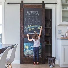 Genious sliding barn door for pantry, with chalk paint!