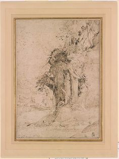 Annibale Carracci | Eroded River Bank with Trees and Exposed Roots | Drawings Online | The Morgan Library & Museum