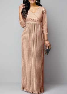 Women'S Pink Long Sleeve Maxi Evening Gown Hot Stamping Plunging Neck Pleated Hem Fall Party Dress By Rosewe Pleated Hem Hot Stamping Plunging Neck Maxi Outfits, Spring Outfits, Spring Dresses, Women's Fashion Dresses, Sexy Dresses, Long Dresses, Club Party Dresses, Maxi Styles, Spandex Dress