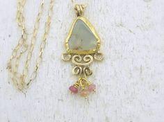 Paranite & Gold Necklace - 24k Gold Pendant - Fine Gold and Paranite Necklace