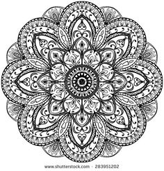 Contour mandala on a white background. Sketch of tattoo. Circular vintage ornament.