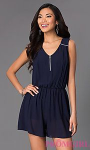 Buy Short Sleeveless V-Neck Romper at PromGirl