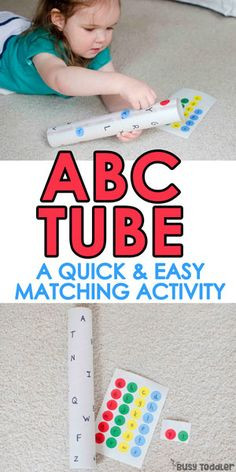 an Alphabet Tube ABC Tube – easy letter matching activity; a quick and easy toddler activity; an easy alphabet activityABC Tube – easy letter matching activity; a quick and easy toddler activity; an easy alphabet activity Toddler Learning Activities, Preschool Learning Activities, Toddler Preschool, Fun Learning, Teaching Toddlers Abc, Toddler Alphabet, Alphabet Games, Learning Spanish, Kindergarten Letter Activities