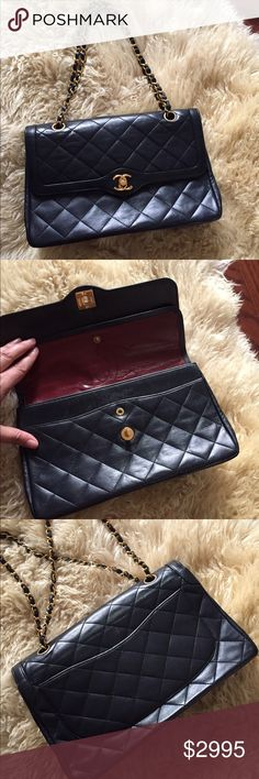 """Chanel Vintage Handbag Second set of photos 11"""" wide by 7"""" high gorgeous authentic CHANEL navy vintage rare flap bag . Soft leather . Excellent vintage condition . Authenticity card included . CHANEL Bags Shoulder Bags"""