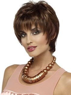 Cheap wigs sexy, Buy Quality hair band wig directly from China hair letter Suppliers: Short Highlights Color Curly Synthetic Hair Wigs for Women Brown Highlights Blonde Sho Cute Short Haircuts, Thin Hair Haircuts, Short Hairstyles For Women, Wig Hairstyles, Layered Hairstyles, Short Hair Wigs, Womens Wigs, Wigs For Black Women, White Women