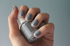 Love this take on the french manicure: Grey nails with a glitter tip