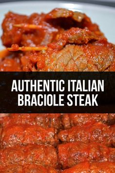 Authentic Italian Braciole … authentic recipe with Tender Strips of Steak and Sauce! Authentic Italian Braciole … authentic recipe with Tender Strips of Steak and Sauce! Lunch Recipes, Meat Recipes, Cooking Recipes, Healthy Recipes, Cooking Food, Party Recipes, Recipes Dinner, Italian Meats, Italian Dishes
