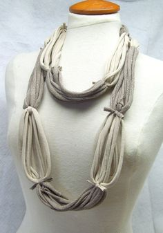 Beige brown upcycle tshirt scarf infinity fabric
