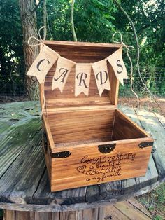This rustic wedding card box is Thursday's photo of the day. This card box is created by handmade wedding artists Nicole + Jeff from CountryBarnBabe. Rustic Card Box Wedding, Wedding Boxes, Wedding Card, Handmade Wedding, Diy Wedding, Wedding Ideas, Wooden Card Box, Gift Card Boxes, Trendy Wedding
