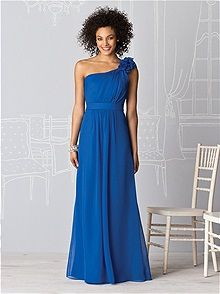 Each bridesmaid got to choose her own style of dress - the only conditions were that it had to be sapphire blue in lux chiffon and be floor length