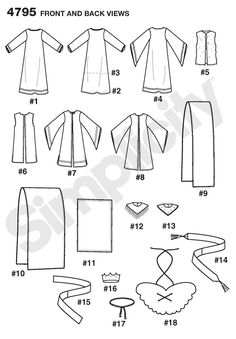 Womens, Mens or Teens Nativity Costume Sewing Pattern 4795 Simplicity