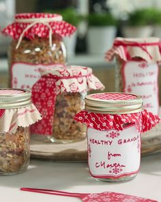 Granola from Martha Stewart (in video, Martha explains that if not using Truvia, may use about 1/2 c. sugar instead)