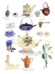 Tea poster illustration 12X16 print Kitchen wall art Teapot watercolor painting Blue decor