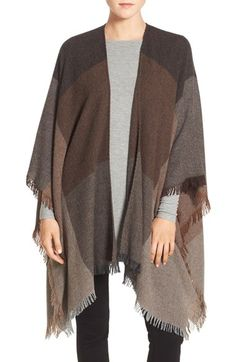 "Eileen Fisher 'Viaggio' Wool Blend Serape (Regular & Petite) available at #Nordstrom  Just pinned the color ""nutmeg"" but I could certainly do this ""raisin"" flavor too!"