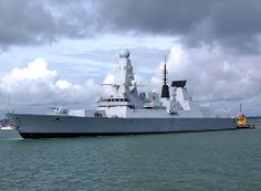 HMS Defender, latest of the type 45 destroyers, leaving Portsmouth September 2012