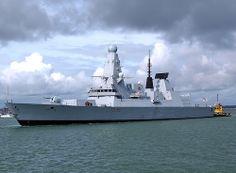 HMS Defender, latest of the type 45 destroyers, leaving Portsmouth September 2012