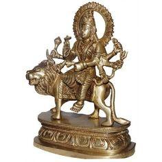 Amazon.com: Brass Sculpture Statue Hindu Goddess Durga Seated on a Lion: Home & Kitchen
