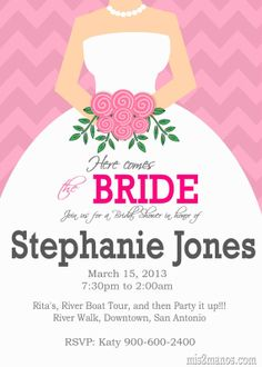 Here Comes The Bride Bridal Shower Invitation  by M2MPartyDesigns