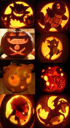 awesome carved Pokemon Halloween pumpkins!
