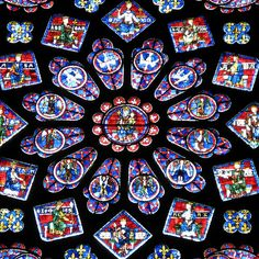 Chartres Cathedral stained glass rose window (High Gothic) color symbolism: green - spring time and rebirth, red - the blood of Jesus, blue - the virgin Mary, white - purity, yellow and gold - divine light of heaven