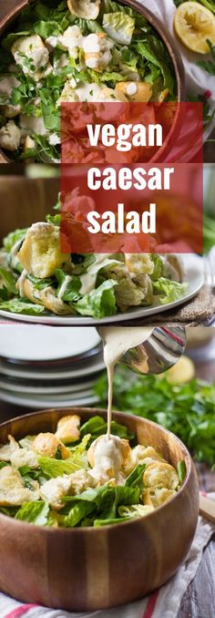 This classic vegan Caesar salad is made with crisp romaine lettuce, galicky baked croutons and to-die-for…