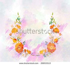 watercolor botanical flower background - stock photo