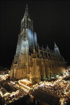 Christmas in Germany --- Cologne, Germany, was there for 2 days during Christmas season...market was magical and the cathedral has so much history to offer!!! Cologne Cathedral. Built in 1248 in Cologne, Germany. The choir rises to 150 ft (46 m). Both towers are 500 ft (152 m) high.