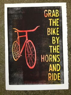 Grab the Bike by the Horns linocut print by themattbutler on Etsy, $29.00