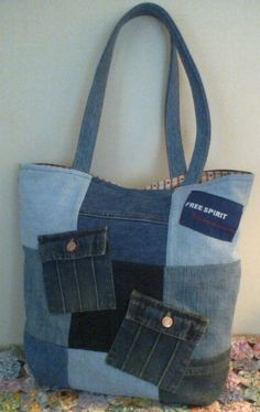 Denim tote -- larger size for school books