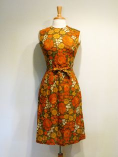 Props - Bed spread/curtains/cushions  1960s Dress / Orange Floral Day Dress. $60.00, via Etsy.