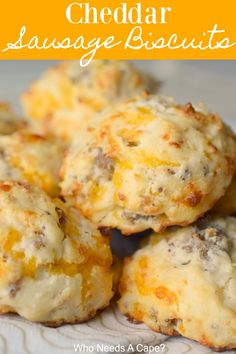 Cheddar Sausage Biscuits - Who Needs A Cape? - - Cheddar Sausage Biscuits – Who Needs A Cape? The Best of Who Needs A Cape? Our family loves Cheddar Sausage Biscuits! Loaded with cheesy goodness and sausage they make a great breakfast or lunch item! Breakfast Biscuits, Breakfast Muffins, Sausage Breakfast, Breakfast Dishes, Breakfast Time, Breakfast Recipes, Breakfast Casserole, Great Breakfast Ideas, Country Breakfast