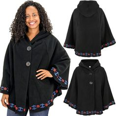 Accented with beautifully embroidered floral detail, our super soft polar fleece poncho will keep you warm all year long! Two hidden snap closures along the hem provide the option of a relaxed or more controlled fit. Clothing Patterns, Dress Patterns, Fleece Poncho, Cape Designs, Kids Poncho, Fashion Vocabulary, Denim And Lace, Polar Fleece, African Dress