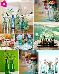 Vasos ou Garrafas? Faça você mesmo Lindos Arranjos de Mesa com Garrafas de Vidro | Recicla Design Brasil