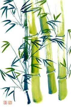 Bamboo print sumi-e watercolor painting on archival art paper, eco-friendly bamboo, or durable vibrant metal by on Etsy Japanese Painting, Chinese Painting, Chinese Art, Japanese Art, Large Painting, Bamboo Art, Bamboo Crafts, Bamboo Garden, Ink Wash