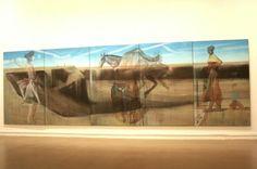 """Marc DESGRANDCHAMPS, """"Sans titre"""", 2007 - Huile sur toile, polyptique de 5 panneaux, 240 x 750 cm, Musée d'Art Moderne de la Ville de Paris"""