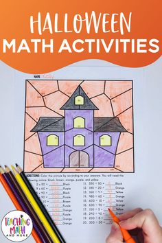 These COLOR by NUMBER Halloween Math Activities are created for Elementary Students to review multiplication and division. These are also great for a NO PREP bulletin board student work display. Just print and go for grades 3, 4, and 5. Aligned to math standards for upper elementary. #elementarymathactivities #elementarymathgames #elementarymathclassroomdecorations #halloweenelementaryactivities #halloweenelementaryworksheets