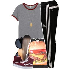 A fashion look from November 2015 featuring Monki t-shirts, adidas activewear pants and Vans sneakers. Browse and shop related looks.